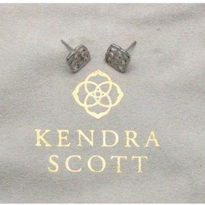 ★Kendra Scott Dira Logo Silver Stud Earrings★